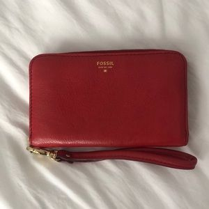 Red Fossil Wallet with Wrist Strap